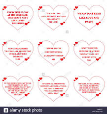 Set Of Funny Love Wishes Quotes Over White Background Simple Heart