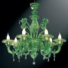 giada green murano glass chandelier 6 lights