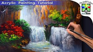 how to paint water falls and autumn trees acrylic painting for beginners full painting tutorial