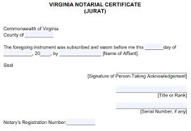 virginia notarial certificate jurat