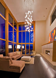 view in gallery elobarate cascading chandelier in living room with high ceiling