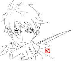 Small Picture Pics Of Anime Girl Outline Coloring Pages Easy Anime Boy Anime