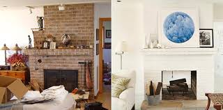 before after living room painted fireplace modern art from domino