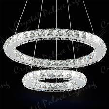 crystal pendant lighting. 2 Ring LED Modern Crystal Chandelier Ceiling Pendant Lighting