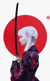 Warrior girl, Japanese art samurai