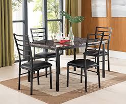 kings brand furniture 5 piece black metal dining kitchen dinette
