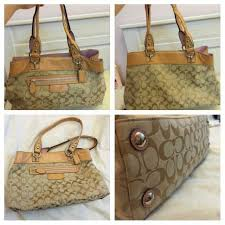 Coach PENELOPE SIGNATURE Medium SATCHEL Tote Bag Patent Handbag ...