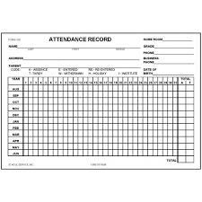 19d Attendance Record Card
