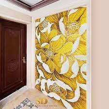 bright yellow flowers mural glass