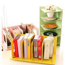 creative diy wooden desk organizer office desktop cd holder file storage rack shelf books random