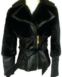 black and gold leather jacket wrap belt fur coat zippers