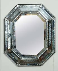 venetian mirror with morning glory etched motif
