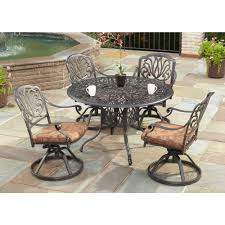 round outdoor dining sets. Home Styles Floral Blossom 42 In. Round 5-Piece Swivel Patio Dining Set With Round Outdoor Dining Sets V