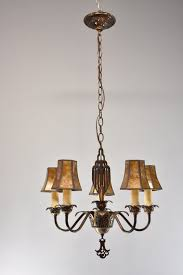 vintage art deco 5 arm chandelier light fixture
