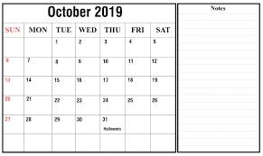 October 2019 Printable Calendar Blank Templates Free Download