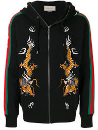 gucci zip up hoodie. gucci dragon embroidered zip hoodie $2,376 - buy aw17 online fast delivery, price up r