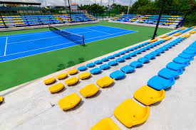 empty tennis court chairs stock photo image of ball 100911692