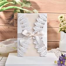 Elegant Invitation Cards 10pcs Lot Feather Design Invitation Card Elegant Delicate Carved Lace White Wedding Party Invitations Cards With Bowknots