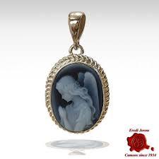 cameo angel guardian silver pendant