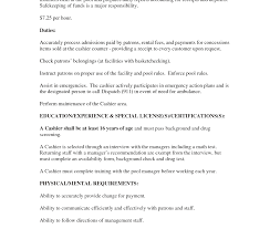 Military Police Job Description Resume Cashier Job Description Resume Duties And Responsibilities Table 100