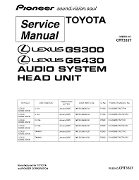 gs300 wiring diagram pdf gs300 image wiring diagram pioneer fx mg9557dv toyota crt3337 lexus gs300 430 service manual on gs300 wiring diagram pdf