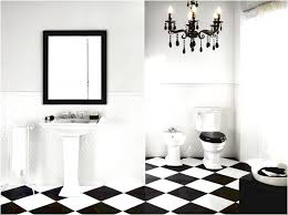 black and white chess pattern bathroom flooring tiles with vintage chandelier and simple porcelain pedestal sink furniture