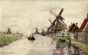 claude monet windmills in holland 1871 painting painting