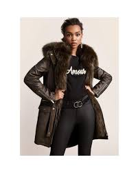 river island khaki green faux fur trim parka according to the quality of the