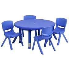 round table with 4 chairs round blue plastic height adjule activity table set with 4 chairs
