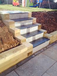 granite patio sleeper retaining wall and steps build in lakeside roath cardiff