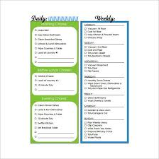Daily Weekly Monthly Chore Chart 30 Weekly Chore Chart Templates Doc Excel Free