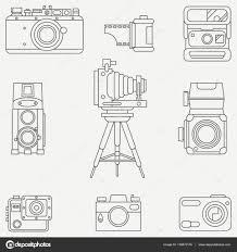 レトロなアナログ フィルム カメラで設定線フラット ベクトル アイコン