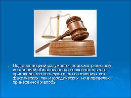 Реферат на тему Апелляционные производства online presentation инстанцией обжалованного неокончательного приговора низшего суда в его основаниях как фактических так и юридических но в пределах принесенной жалобы
