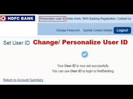 personalize hdfc netbanking user id