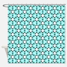 black and turquoise shower curtain. white and black stars on aqua blue shower curtain turquoise n