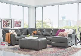 leather sectional living room furniture.  Sectional Gennaro 4 Pc Slate Leather Sectional Living Room  Rooms  Gray With Furniture I
