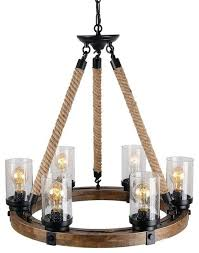 round wooden chandelier with clear glass shade rope and metal pendant