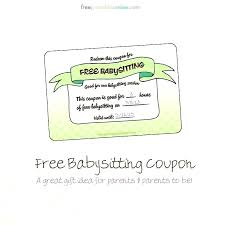 babysitting gift certificate template free free printable massage coupon babysitting gift certificate template