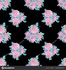 fl decorative bright wallpaper with cute roses seamless pattern in pastel pink colors on black
