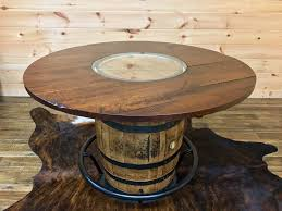 Whiskey Barrel Table: #7326PLAIN (54)  $1,299 42 Raised Black Foot Ring:  #12274-42  $384. Faux Leather 24 Barrel Stool: #12374  $249 ea.