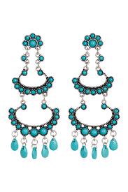 image of spring street western inspired turquoise beaded chandelier earrings