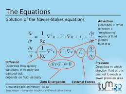 the equations solution of the navier stokes equations advection