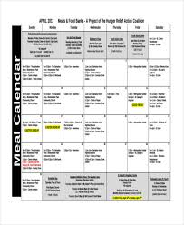 Meal Calendar Templates - 10+ Free Word, Pdf Format Download | Free ...
