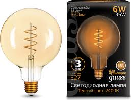 <b>Лампочка Gauss</b> Black LED <b>Filament Flexible</b> G120 E27 6W ...