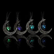 crescent sailor half moon glow in the dark pendant necklace women s jewelry gift