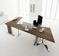 wall office desk. Elegance Simple Office Desk With L Shape Brown Wooden Table Using Chrome Framed Plus White LCD And Single Black Chair Flooring Also Wall O