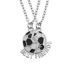 whole creative football buddy best friends necklaces for 2 best friend f soccer necklace black and white cute friendship gift for jewelry heart