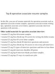 Associate Resume Top 8 Operation Associate Resume Samples