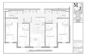 floor plan for a four bedroom apartment in bsu s university heights student housing development