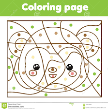 Children Educational Game Coloring Page With Monkey Color By Dots
